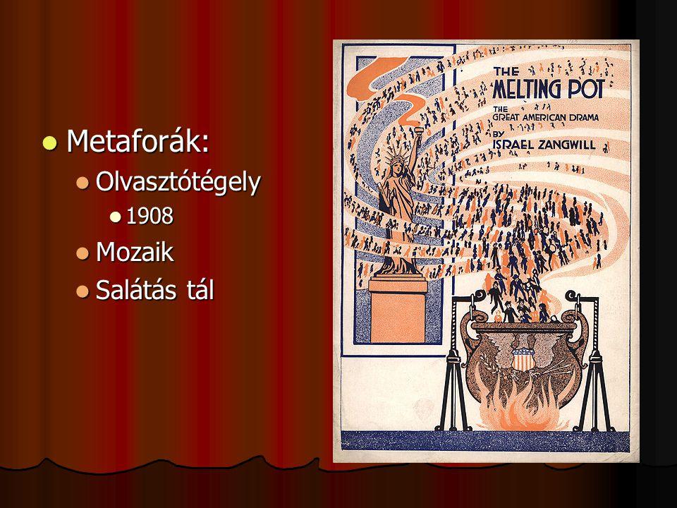 Metaforák: Metaforák: Olvasztótégely Olvasztótégely 1908 1908 Mozaik Mozaik Salátás tál Salátás tál
