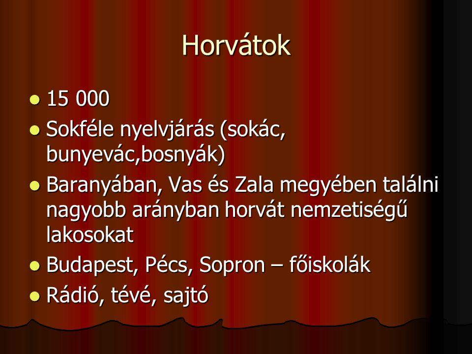 Horvátok 15 000 15 000 Sokféle nyelvjárás (sokác, bunyevác,bosnyák) Sokféle nyelvjárás (sokác, bunyevác,bosnyák) Baranyában, Vas és Zala megyében találni nagyobb arányban horvát nemzetiségű lakosokat Baranyában, Vas és Zala megyében találni nagyobb arányban horvát nemzetiségű lakosokat Budapest, Pécs, Sopron – főiskolák Budapest, Pécs, Sopron – főiskolák Rádió, tévé, sajtó Rádió, tévé, sajtó