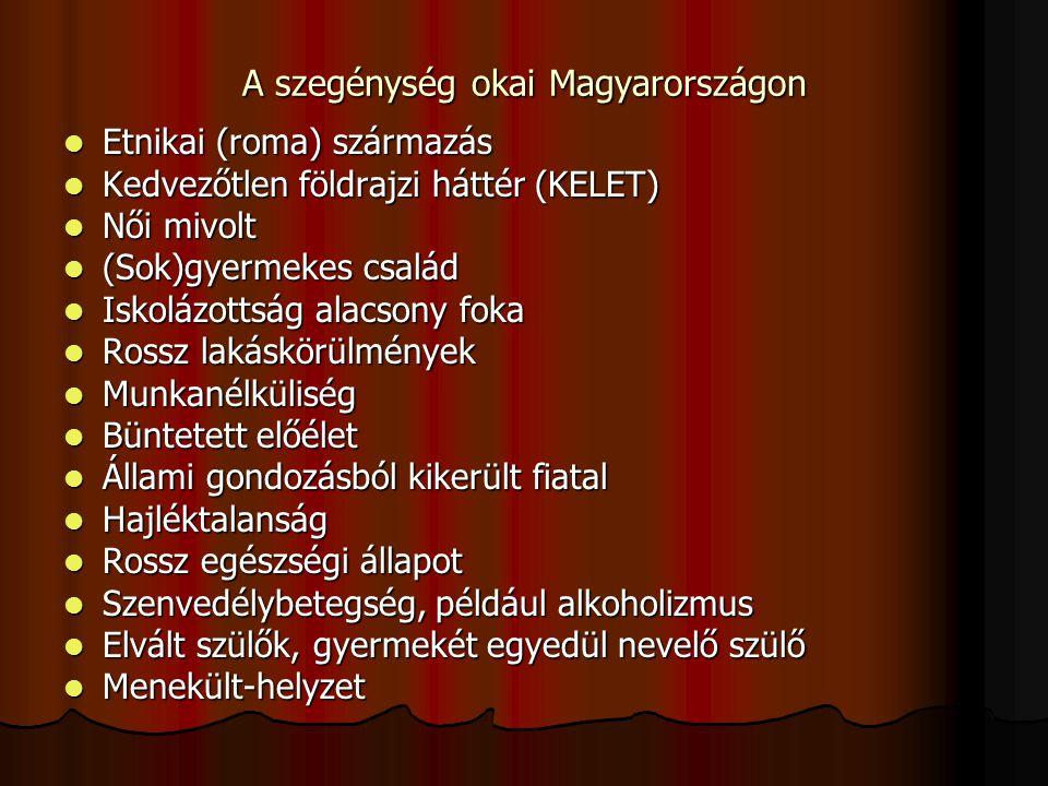 A szegénység okai Magyarországon Etnikai (roma) származás Etnikai (roma) származás Kedvezőtlen földrajzi háttér (KELET) Kedvezőtlen földrajzi háttér (KELET) Női mivolt Női mivolt (Sok)gyermekes család (Sok)gyermekes család Iskolázottság alacsony foka Iskolázottság alacsony foka Rossz lakáskörülmények Rossz lakáskörülmények Munkanélküliség Munkanélküliség Büntetett előélet Büntetett előélet Állami gondozásból kikerült fiatal Állami gondozásból kikerült fiatal Hajléktalanság Hajléktalanság Rossz egészségi állapot Rossz egészségi állapot Szenvedélybetegség, például alkoholizmus Szenvedélybetegség, például alkoholizmus Elvált szülők, gyermekét egyedül nevelő szülő Elvált szülők, gyermekét egyedül nevelő szülő Menekült-helyzet Menekült-helyzet