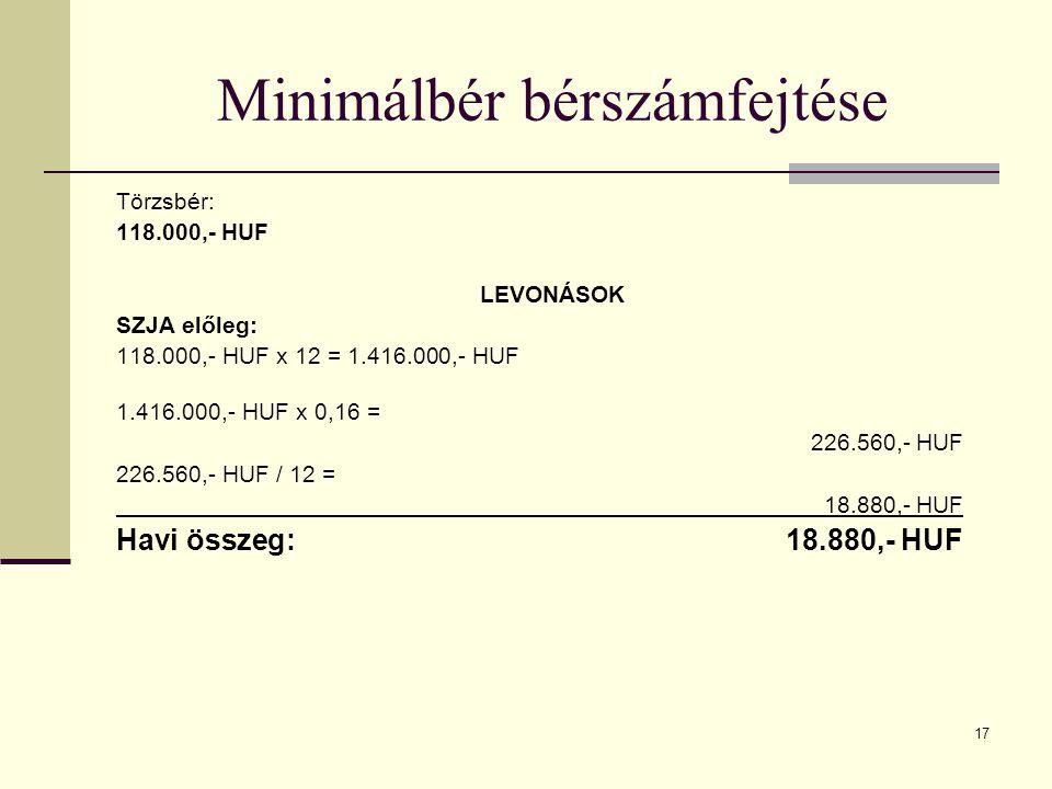 Minimálbér bérszámfejtése Törzsbér: 118.000,- HUF LEVONÁSOK SZJA előleg: 118.000,- HUF x 12 = 1.416.000,- HUF 1.416.000,- HUF x 0,16 = 226.560,- HUF 226.560,- HUF / 12 = 18.880,- HUF Havi összeg: 18.880,- HUF 17