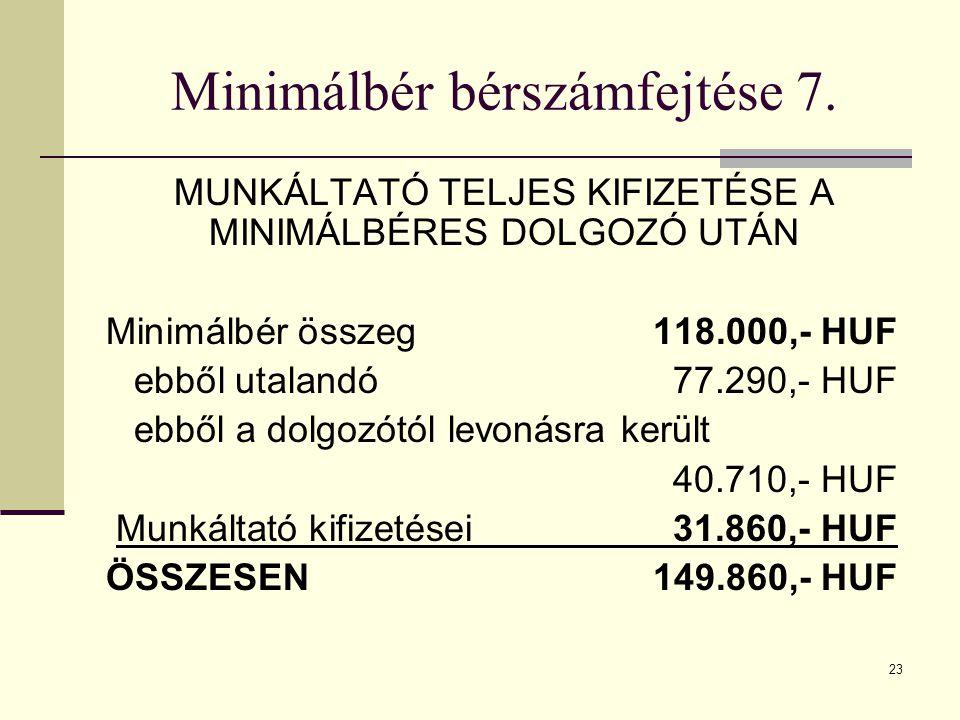 Minimálbér bérszámfejtése 7.