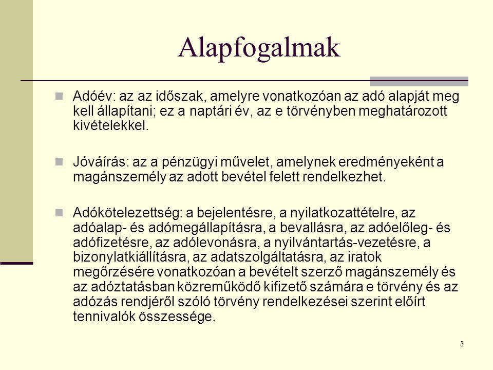 Alapfogalmak Adóév: az az időszak, amelyre vonatkozóan az adó alapját meg kell állapítani; ez a naptári év, az e törvényben meghatározott kivételekkel.