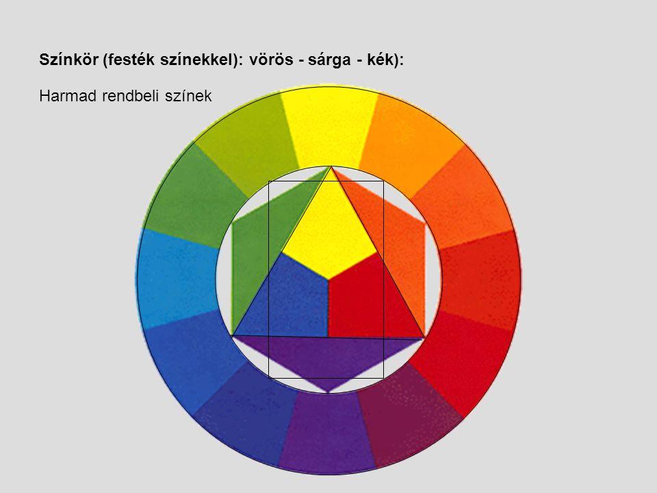 Színkör (festék színekkel): vörös - sárga - kék): Másod rendbeli színek