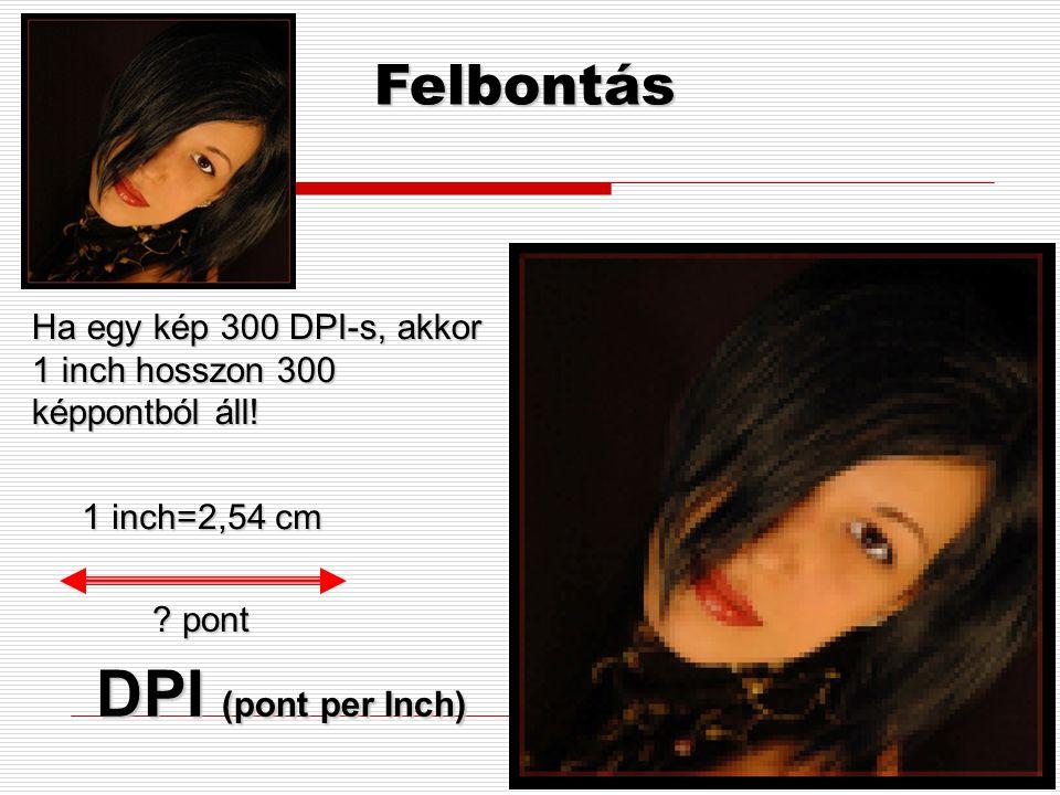 Színmélység  A számítógép a képi információkat is digitális adatokként kezeli, így a kép minden jellemzőjéhez valamilyen számot rendel