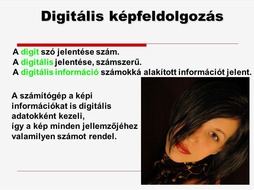 Digitális képfeldolgozás A számítógép a képi információkat is digitális adatokként kezeli, így a kép minden jellemzőjéhez valamilyen számot rendel.