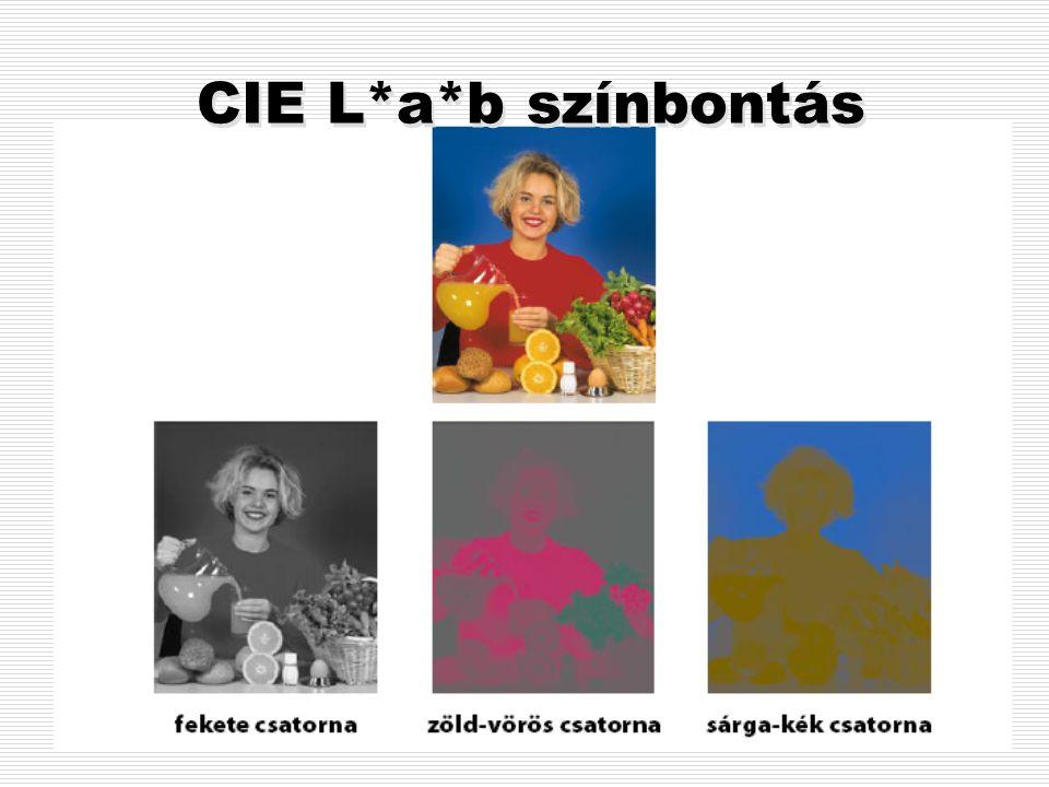 CIE L*a*b színmodell A LAB színtérben térben ábrázolhatóak a HSB színtér tulajdonságai