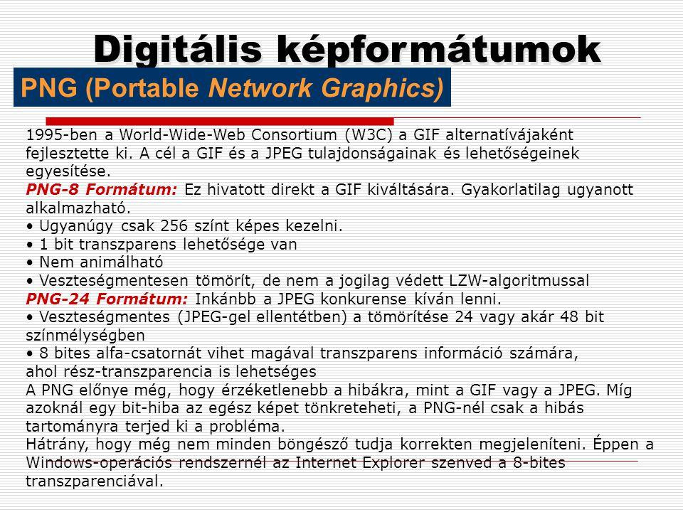 Digitális képformátumok Z-Soft cég fejlesztette ki DOS Windows platformokra, 8; 24 bites RGB képek mentésére alkalmas,.PCXkiterjesztése.PCX PCX GIF (G