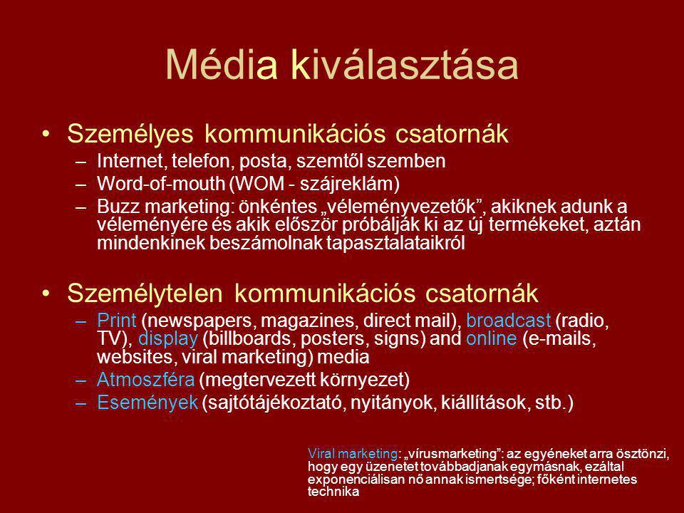 Média kiválasztása Személyes kommunikációs csatornák –Internet, telefon, posta, szemtől szemben –Word-of-mouth (WOM - szájreklám) –Buzz marketing: önk