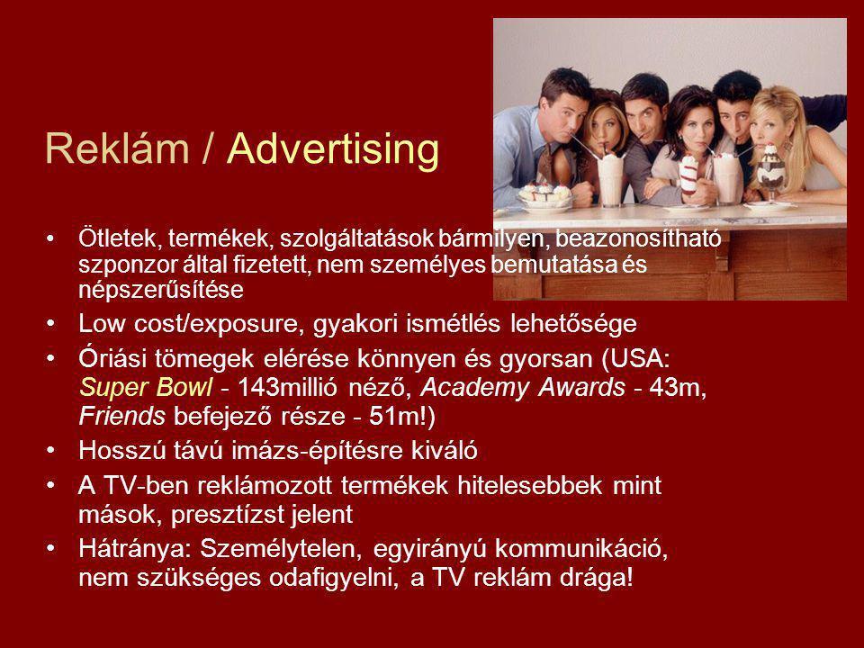 Reklám / Advertising Ötletek, termékek, szolgáltatások bármilyen, beazonosítható szponzor által fizetett, nem személyes bemutatása és népszerűsítése L