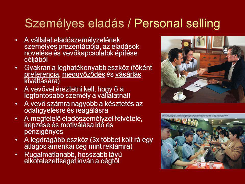 Személyes eladás / Personal selling A vállalat eladószemélyzetének személyes prezentációja, az eladások növelése és vevőkapcsolatok építése céljából Gyakran a leghatékonyabb eszköz (főként preferencia, meggyőződés és vásárlás kiváltására) A vevővel éreztetni kell, hogy ő a legfontosabb személy a vállalatnál.
