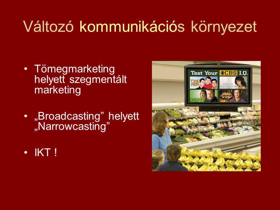 """Változó kommunikációs környezet Tömegmarketing helyett szegmentált marketing """"Broadcasting"""" helyett """"Narrowcasting"""" IKT !"""