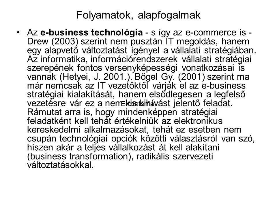 Folyamatok, alapfogalmak Az e-business technológia - s így az e-commerce is - Drew (2003) szerint nem pusztán IT megoldás, hanem egy alapvető változtatást igényel a vállalati stratégiában.