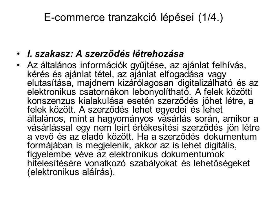 E-commerce tranzakció lépései (1/4.) I. szakasz: A szerződés létrehozása Az általános információk gyűjtése, az ajánlat felhívás, kérés és ajánlat téte