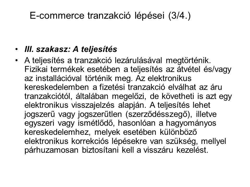 III. szakasz: A teljesítés A teljesítés a tranzakció lezárulásával megtörténik. Fizikai termékek esetében a teljesítés az átvétel és/vagy az installác