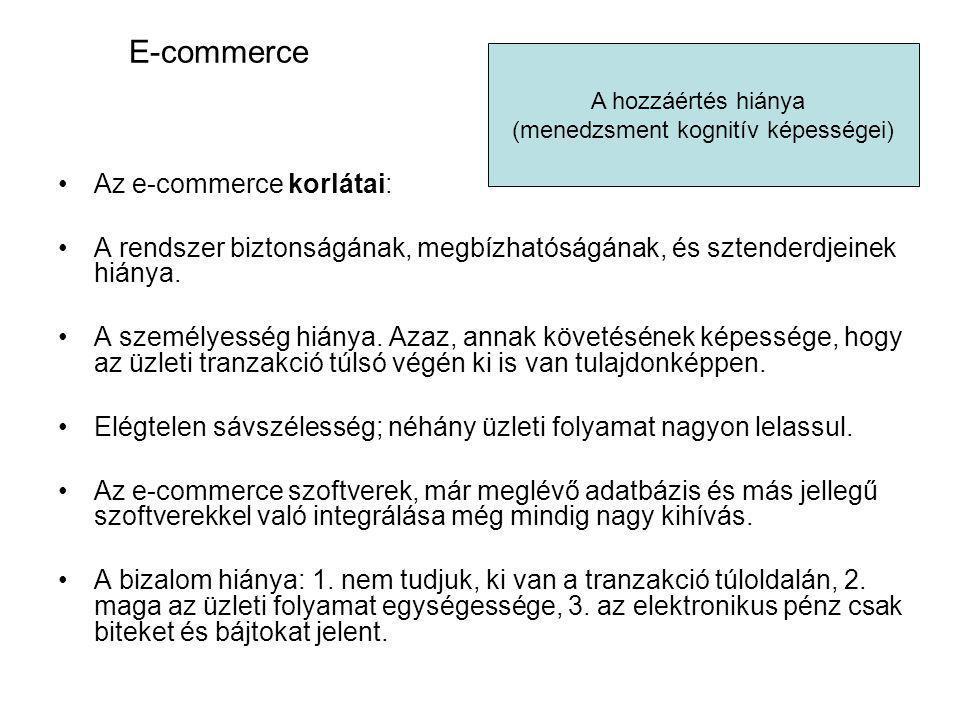 E-commerce Az e-commerce korlátai: A rendszer biztonságának, megbízhatóságának, és sztenderdjeinek hiánya. A személyesség hiánya. Azaz, annak követésé