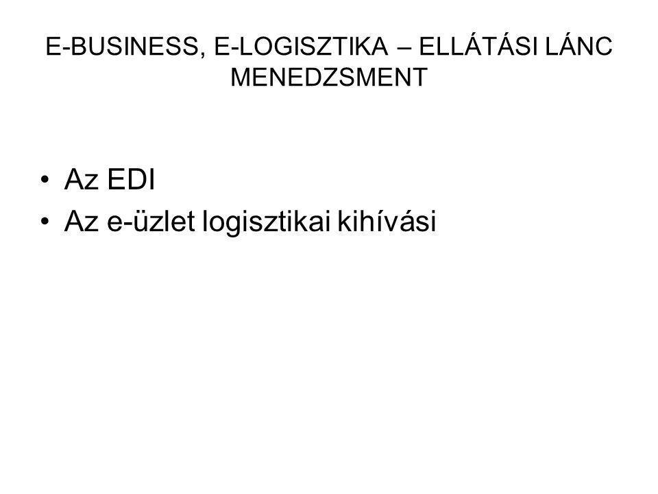 E-BUSINESS, E-LOGISZTIKA – ELLÁTÁSI LÁNC MENEDZSMENT Az EDI Az e-üzlet logisztikai kihívási