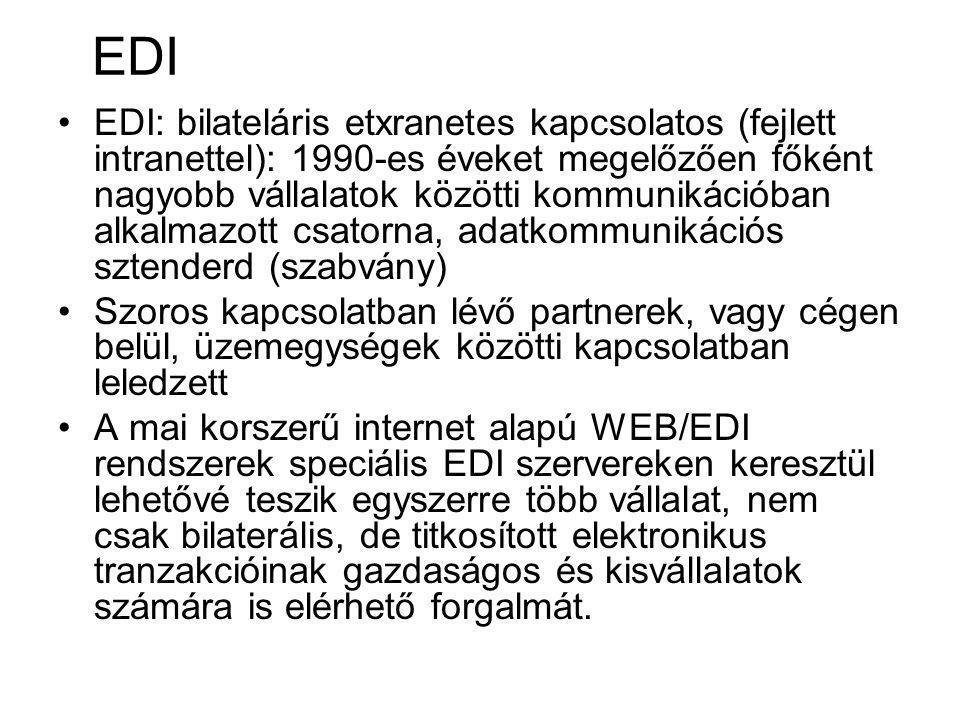 EDI EDI: bilateláris etxranetes kapcsolatos (fejlett intranettel): 1990-es éveket megelőzően főként nagyobb vállalatok közötti kommunikációban alkalmazott csatorna, adatkommunikációs sztenderd (szabvány) Szoros kapcsolatban lévő partnerek, vagy cégen belül, üzemegységek közötti kapcsolatban leledzett A mai korszerű internet alapú WEB/EDI rendszerek speciális EDI szervereken keresztül lehetővé teszik egyszerre több vállalat, nem csak bilaterális, de titkosított elektronikus tranzakcióinak gazdaságos és kisvállalatok számára is elérhető forgalmát.