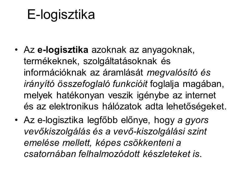 E-logisztika Az e-logisztika azoknak az anyagoknak, termékeknek, szolgáltatásoknak és információknak az áramlását megvalósító és irányító összefoglaló