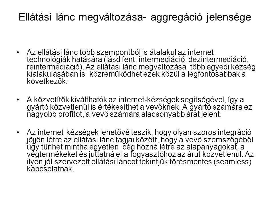 Ellátási lánc megváltozása- aggregáció jelensége Az ellátási lánc több szempontból is átalakul az internet- technológiák hatására (lásd fent: intermed