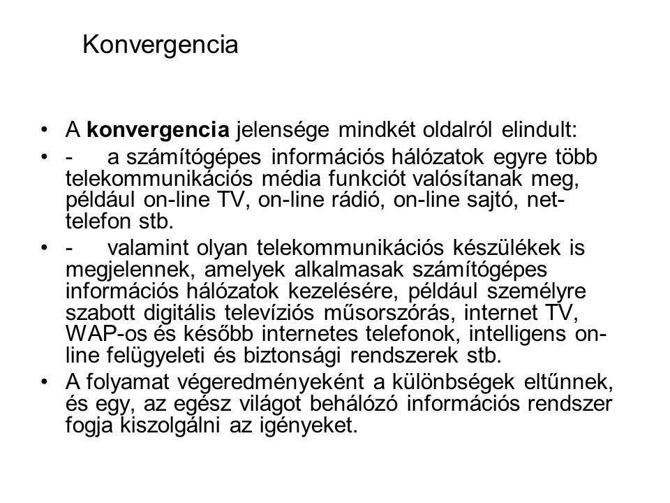 Konvergencia A konvergencia jelensége mindkét oldalról elindult: -a számítógépes információs hálózatok egyre több telekommunikációs média funkciót valósítanak meg, például on-line TV, on-line rádió, on-line sajtó, net- telefon stb.