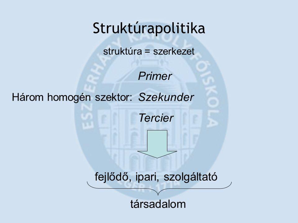 Struktúrapolitika struktúra = szerkezet Három homogén szektor: Primer Szekunder Tercier fejlődő, ipari, szolgáltató társadalom