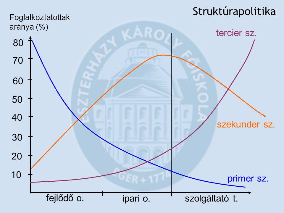 Struktúrapolitika fejlődő o. ipari o. szolgáltató t. Foglalkoztatottak aránya (%) 10 50 60 70 80 20 30 40 szekunder sz. primer sz. tercier sz.