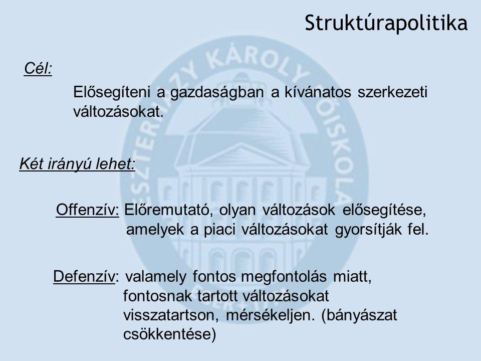 Struktúrapolitika Cél: Két irányú lehet: Elősegíteni a gazdaságban a kívánatos szerkezeti változásokat. Offenzív: Előremutató, olyan változások előseg