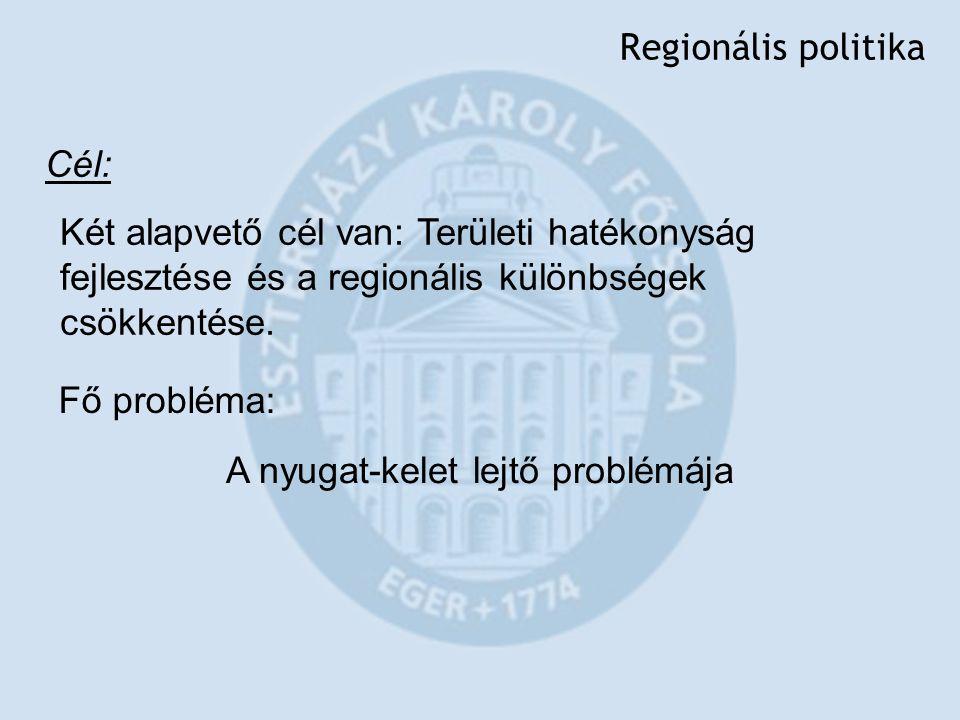 Regionális politika Cél: Két alapvető cél van: Területi hatékonyság fejlesztése és a regionális különbségek csökkentése. Fő probléma: A nyugat-kelet l
