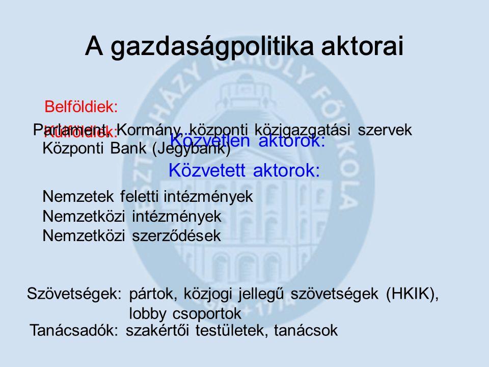 A gazdaságpolitika aktorai Közvetlen aktorok: Közvetett aktorok: Belföldiek: Külföldiek: Parlament, Kormány, központi közigazgatási szervek Központi B