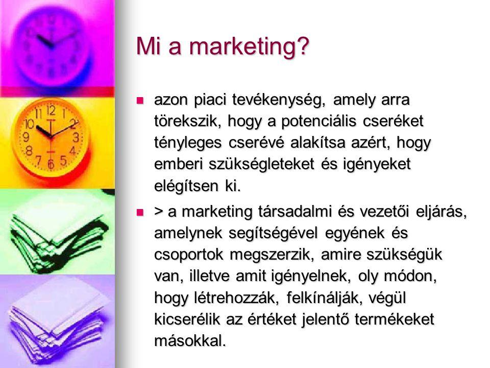 Mi a marketing? azon piaci tevékenység, amely arra törekszik, hogy a potenciális cseréket tényleges cserévé alakítsa azért, hogy emberi szükségleteket