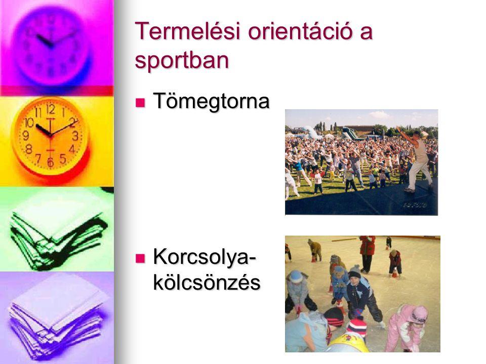 Termelési orientáció a sportban Tömegtorna Tömegtorna Korcsolya- kölcsönzés Korcsolya- kölcsönzés