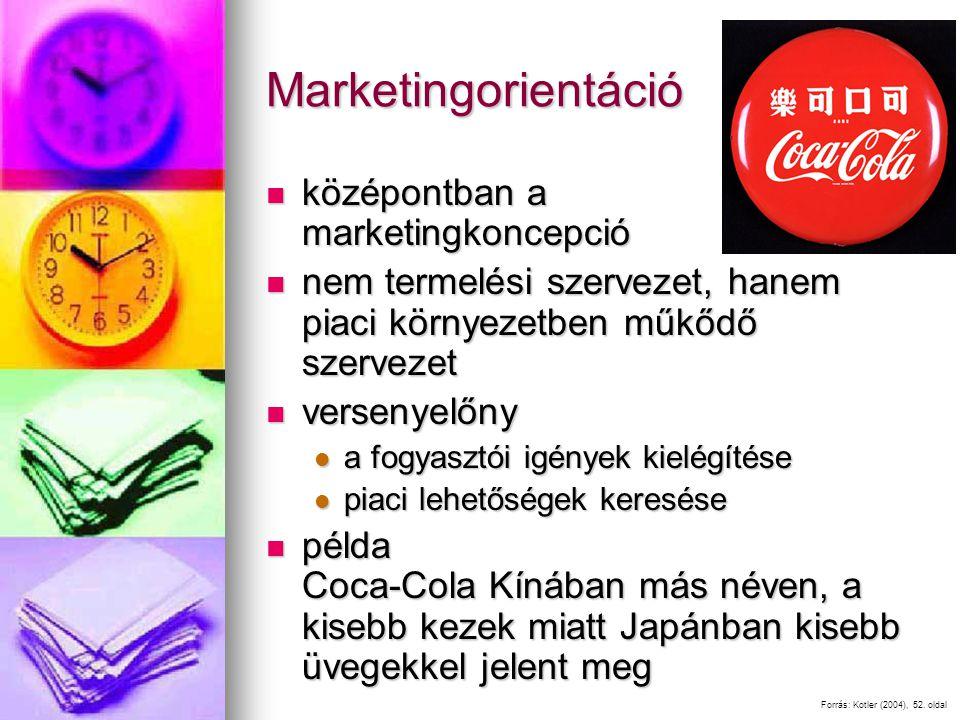 Marketingorientáció középontban a marketingkoncepció középontban a marketingkoncepció nem termelési szervezet, hanem piaci környezetben műkődő szervezet nem termelési szervezet, hanem piaci környezetben műkődő szervezet versenyelőny versenyelőny a fogyasztói igények kielégítése a fogyasztói igények kielégítése piaci lehetőségek keresése piaci lehetőségek keresése példa Coca-Cola Kínában más néven, a kisebb kezek miatt Japánban kisebb üvegekkel jelent meg példa Coca-Cola Kínában más néven, a kisebb kezek miatt Japánban kisebb üvegekkel jelent meg Forrás: Kotler (2004), 52.