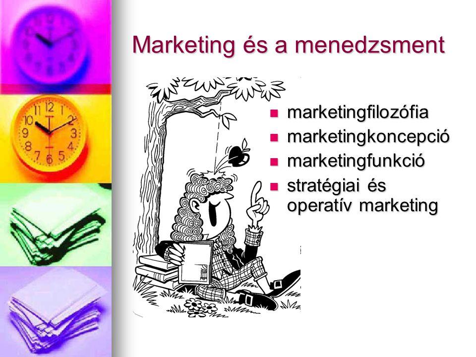 Marketing és a menedzsment marketingfilozófia marketingfilozófia marketingkoncepció marketingkoncepció marketingfunkció marketingfunkció stratégiai és operatív marketing stratégiai és operatív marketing