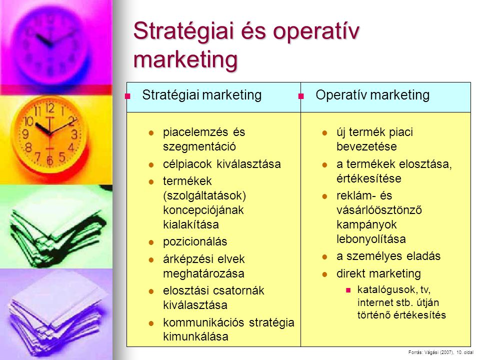 Stratégiai és operatív marketing Stratégiai marketing piacelemzés és szegmentáció célpiacok kiválasztása termékek (szolgáltatások) koncepciójának kialakítása pozicionálás árképzési elvek meghatározása elosztási csatornák kiválasztása kommunikációs stratégia kimunkálása Forrás: Vágási (2007), 10.
