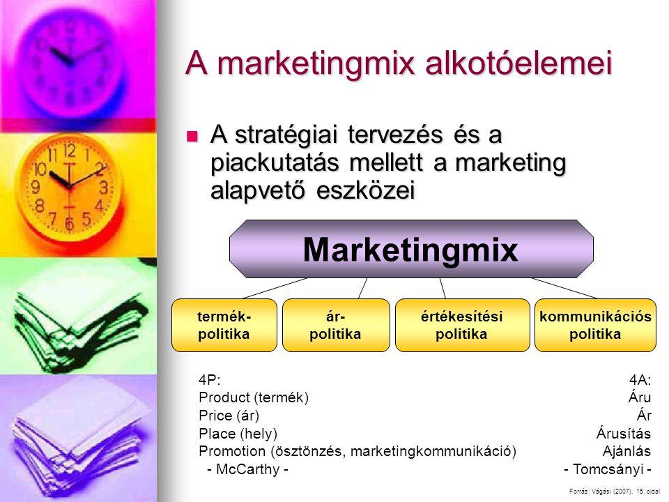 A marketingmix alkotóelemei A stratégiai tervezés és a piackutatás mellett a marketing alapvető eszközei A stratégiai tervezés és a piackutatás mellett a marketing alapvető eszközei Forrás: Vágási (2007), 15.