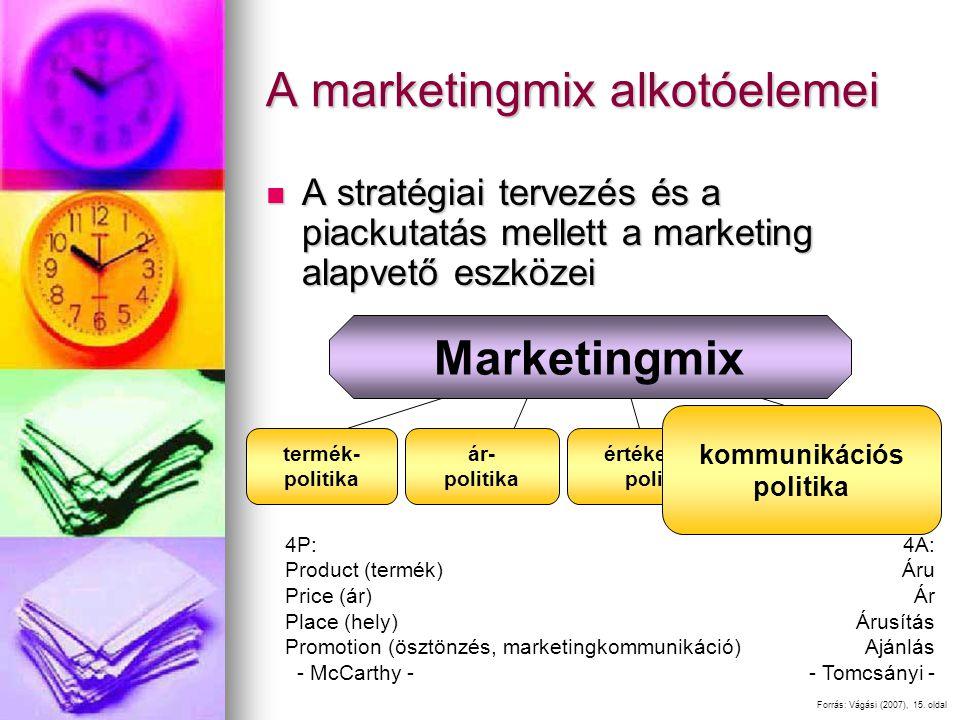 A marketingmix alkotóelemei A stratégiai tervezés és a piackutatás mellett a marketing alapvető eszközei A stratégiai tervezés és a piackutatás mellet