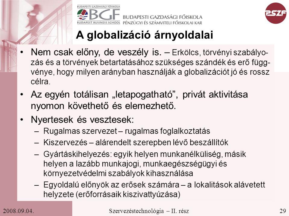 29Szervezéstechnológia – II. rész2008.09.04. A globalizáció árnyoldalai Nem csak előny, de veszély is. – Erkölcs, törvényi szabályo- zás és a törvénye