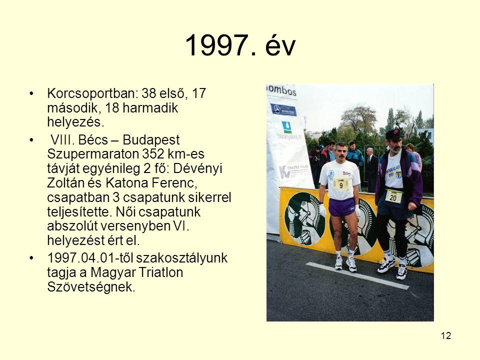 12 1997. év Korcsoportban: 38 első, 17 második, 18 harmadik helyezés. VIII. Bécs – Budapest Szupermaraton 352 km-es távját egyénileg 2 fő: Dévényi Zol