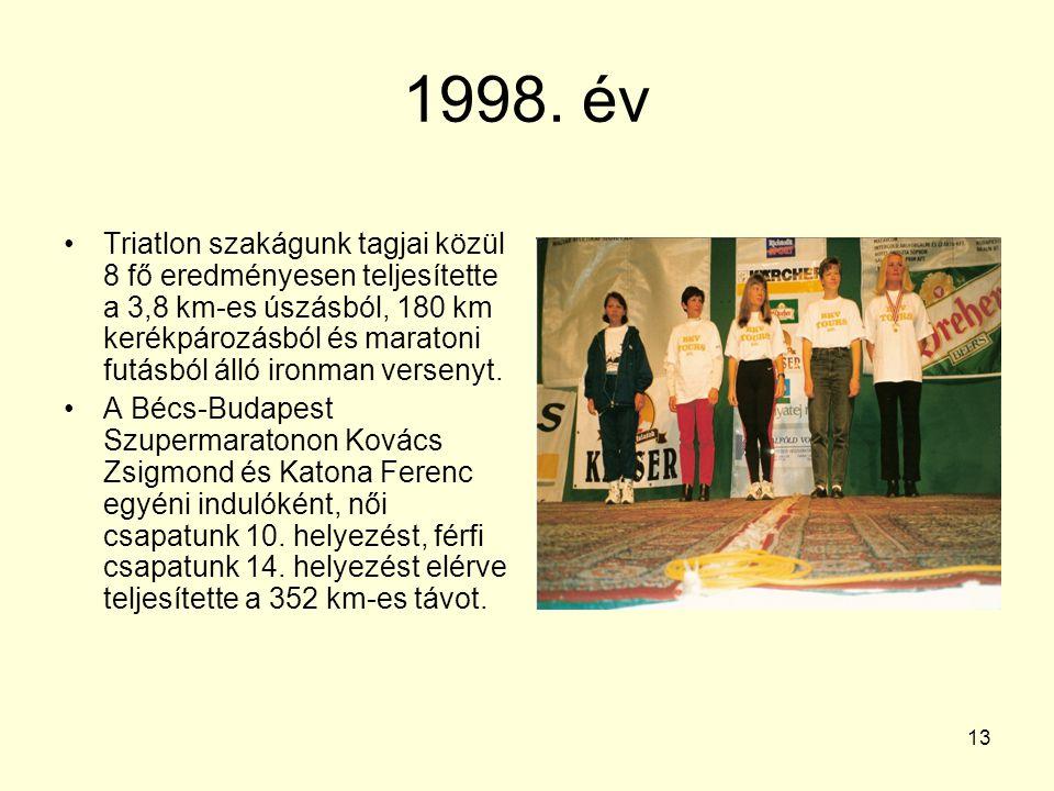 13 1998. év Triatlon szakágunk tagjai közül 8 fő eredményesen teljesítette a 3,8 km-es úszásból, 180 km kerékpározásból és maratoni futásból álló iron