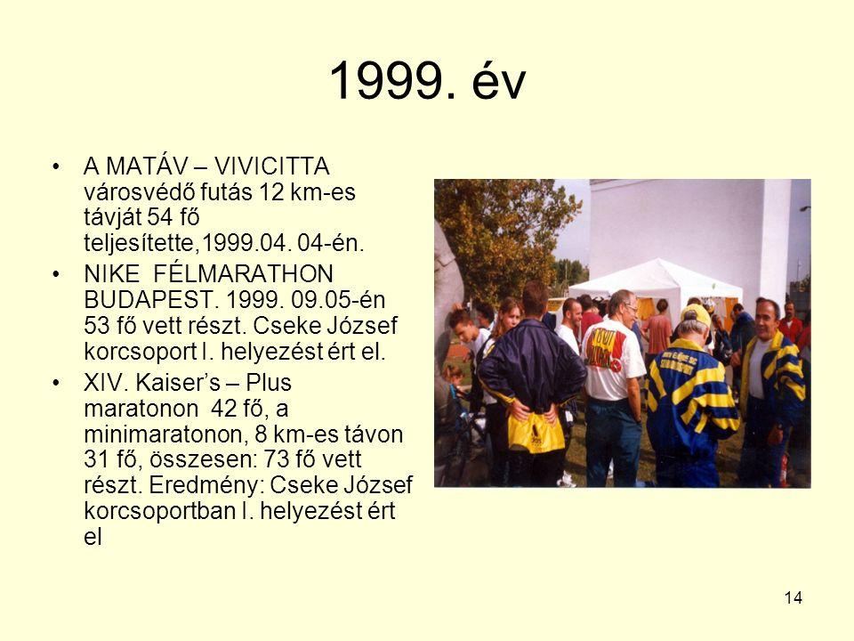 14 1999. év A MATÁV – VIVICITTA városvédő futás 12 km-es távját 54 fő teljesítette,1999.04. 04-én. NIKE FÉLMARATHON BUDAPEST. 1999. 09.05-én 53 fő vet