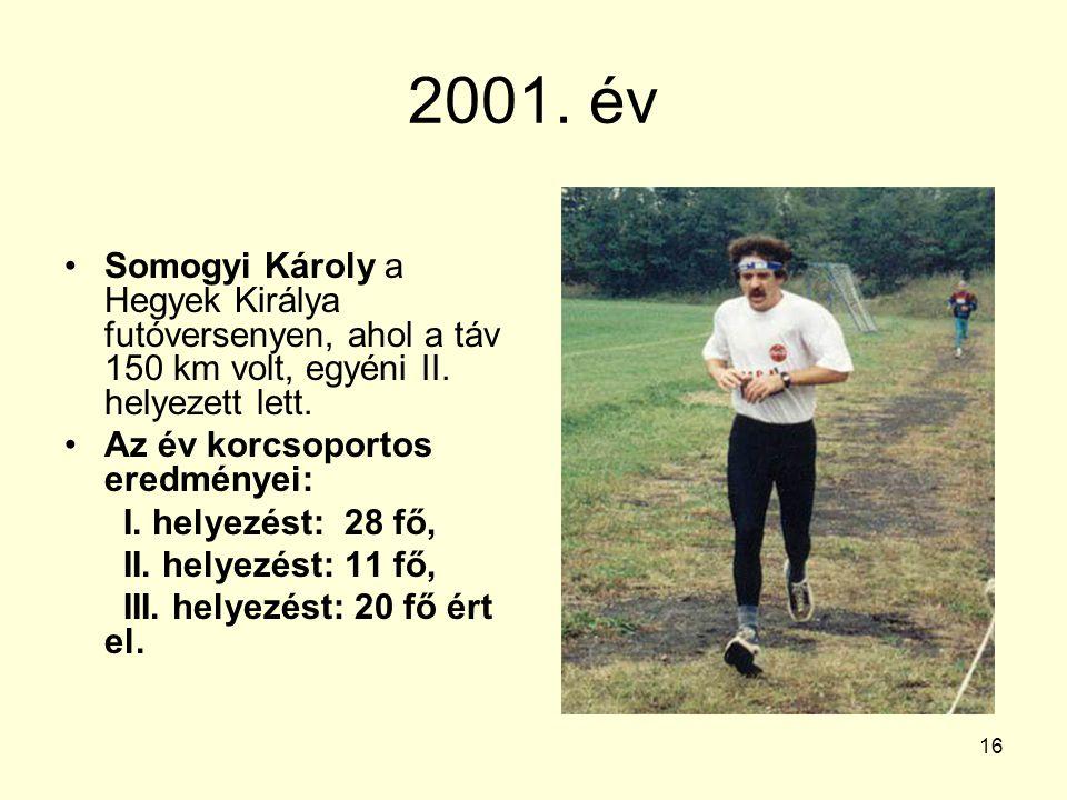16 2001. év Somogyi Károly a Hegyek Királya futóversenyen, ahol a táv 150 km volt, egyéni II. helyezett lett. Az év korcsoportos eredményei: I. helyez