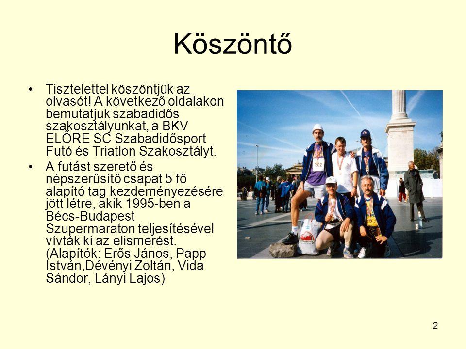 2 Köszöntő Tisztelettel köszöntjük az olvasót! A következő oldalakon bemutatjuk szabadidős szakosztályunkat, a BKV ELŐRE SC Szabadidősport Futó és Tri