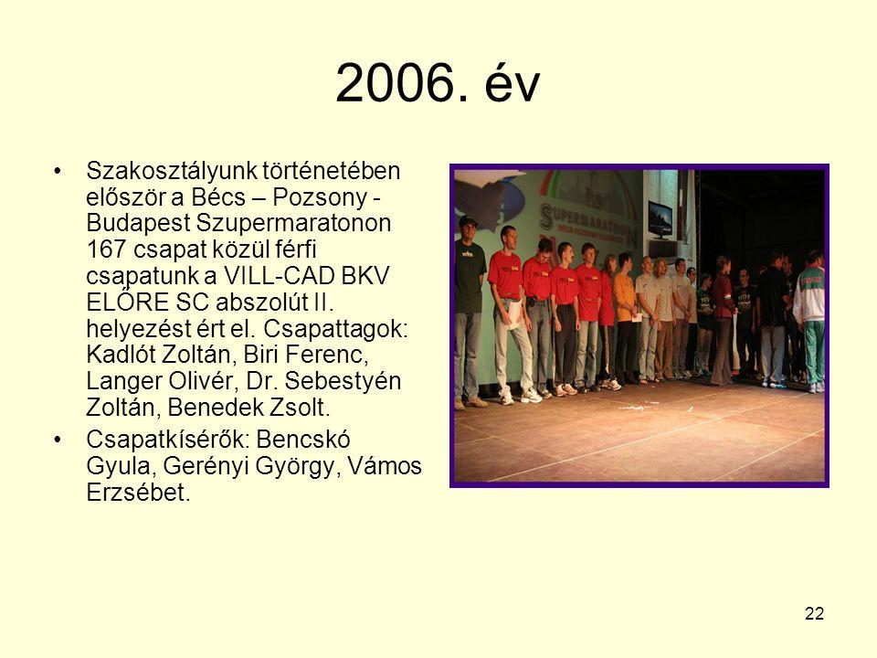 22 2006. év Szakosztályunk történetében először a Bécs – Pozsony - Budapest Szupermaratonon 167 csapat közül férfi csapatunk a VILL-CAD BKV ELŐRE SC a