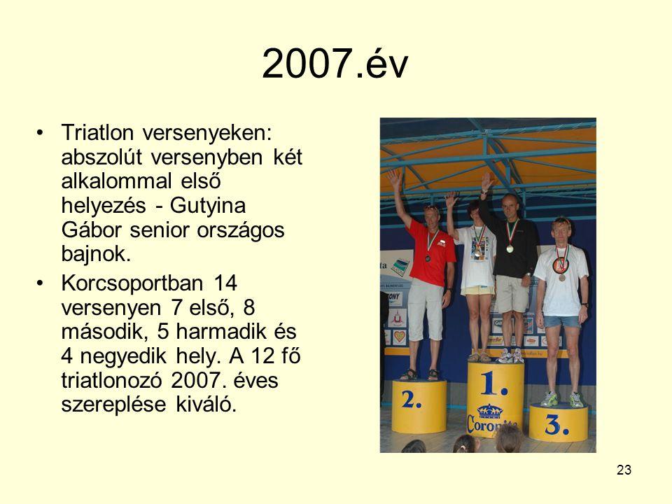 23 2007.év Triatlon versenyeken: abszolút versenyben két alkalommal első helyezés - Gutyina Gábor senior országos bajnok. Korcsoportban 14 versenyen 7