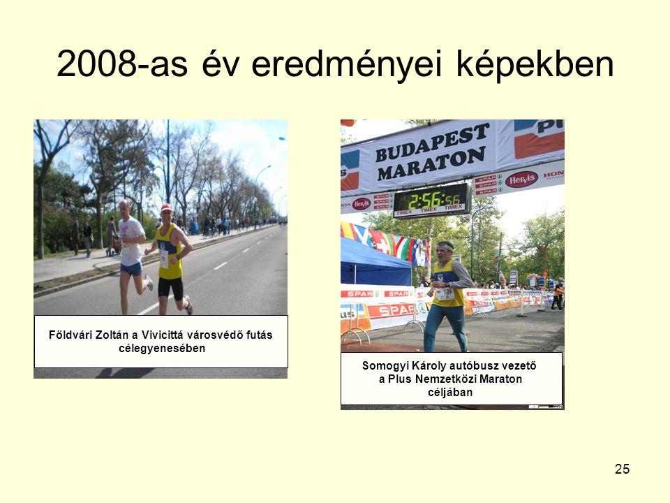 25 2008-as év eredményei képekben Földvári Zoltán a Vivicittá városvédő futás célegyenesében Somogyi Károly autóbusz vezető a Plus Nemzetközi Maraton