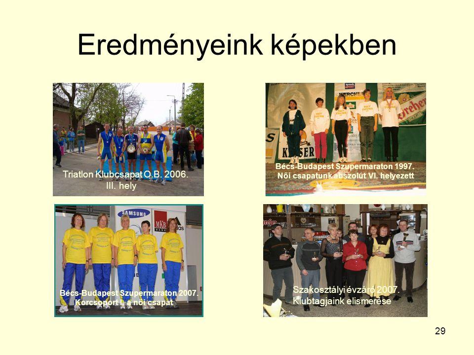 29 Eredményeink képekben Triatlon Klubcsapat O.B. 2006. III. hely Bécs-Budapest Szupermaraton 1997. Női csapatunk abszolút VI. helyezett Bécs-Budapest
