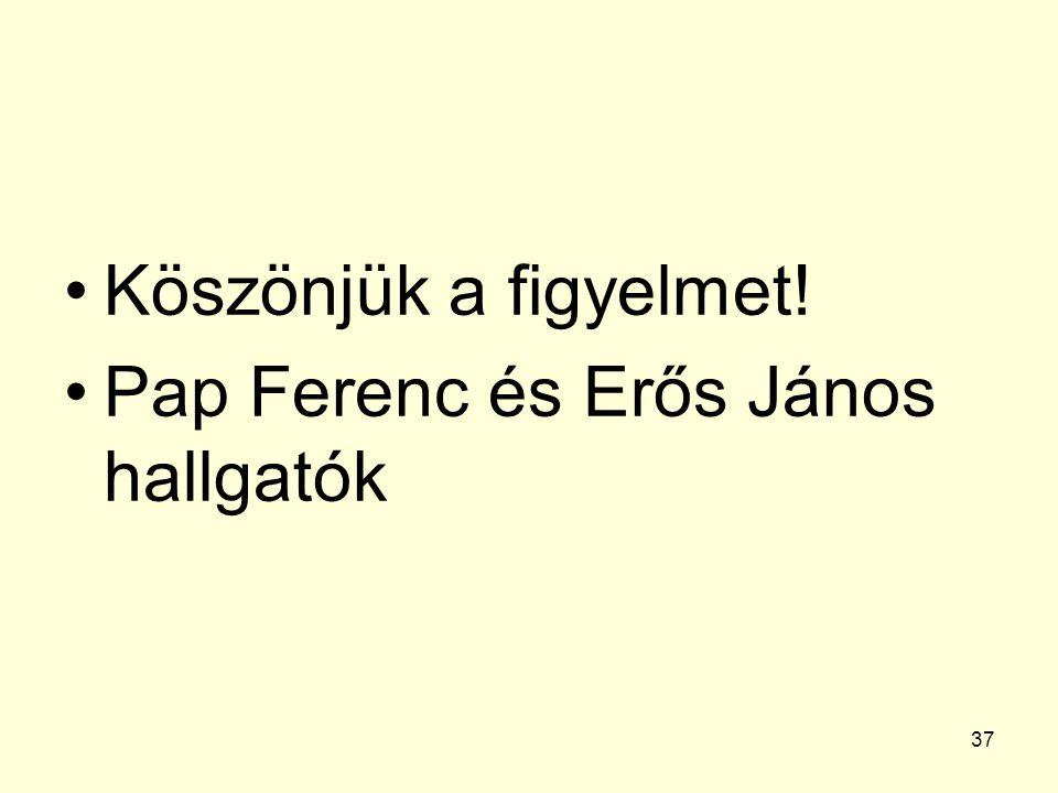 37 Köszönjük a figyelmet! Pap Ferenc és Erős János hallgatók