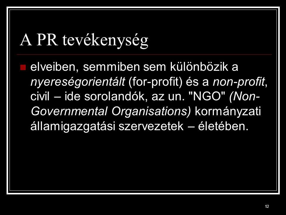 12 A PR tevékenység elveiben, semmiben sem különbözik a nyereségorientált (for-profit) és a non-profit, civil – ide sorolandók, az un.