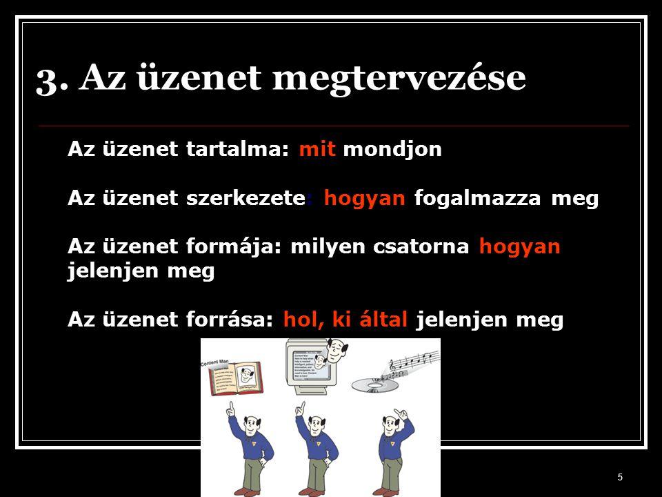 5 3. Az üzenet megtervezése Az üzenet tartalma: mit mondjon Az üzenet szerkezete: hogyan fogalmazza meg Az üzenet formája: milyen csatorna hogyan jele