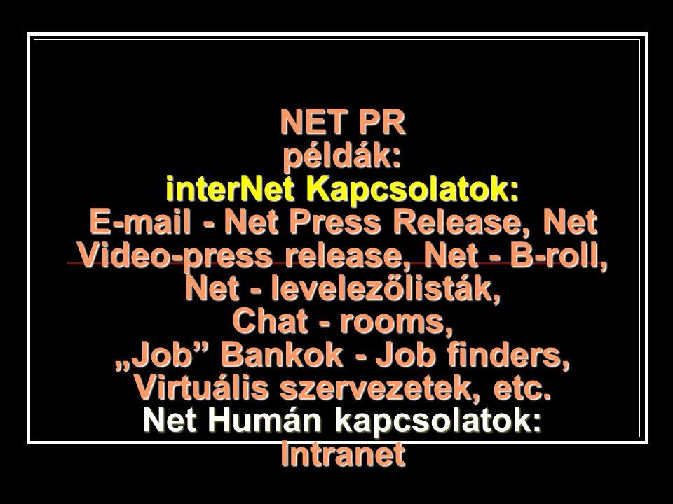 """NET PR példák: interNet Kapcsolatok: E-mail - Net Press Release, Net Video-press release, Net - B-roll, Net - levelezőlisták, Chat - rooms, """"Job Bankok - Job finders, Virtuális szervezetek, etc."""